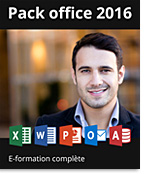 Pack Office 2016 - Formations complètes : Excel + PowerPoint + Word,