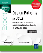 Design Patterns en Java - Les 23 modèles de conception, livre java, livre design patterns, uml, uml2, uml 2, GoF, POO, MVC, motif de conception, patron de conception, Abstract Factory, Builder, Factory Method, Prototype, Singleton, Adapter, Bridge, Composite, Decorator, Façade, Flyweight, Proxy, Chain of Responsibility, Command, Interpreter, Iterator, Mediator, Memento, Observer, State, Strategy, Template Method, Visitor