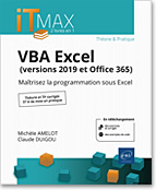 VBA Excel (versions 2019 et Office 365), microsoft,  macro-commande, macro commande, office, api, excel vba, excel 2016, office 2019, office 365, livre VBA, objet, langage objet, programmation, macro, macros, Visual Basic, VB, Office 2019, LNIM19EXCV